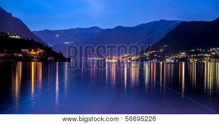Como Lake landscape at sunrise