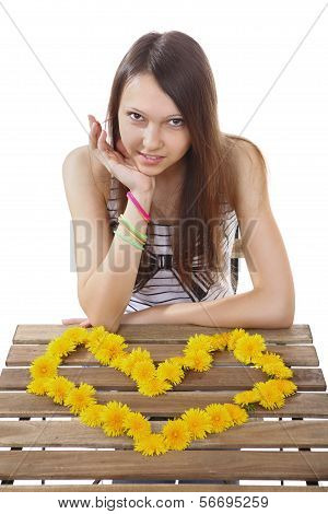 Teen Girl 15 Years Old, Made Of Yellow Flowers Valentine.