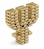 Primecoin symbol from gold bars