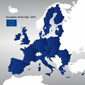 The European Union map 2014. Vector. poster