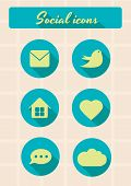 Social icons retro set