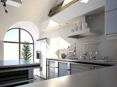image of half  - Modern white kitchen interior in a sunny room with half - JPG