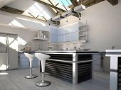 stock photo of stool  - Sunny modern kitchen interior with two bar stools - JPG