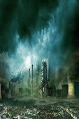 pic of chimney  - Composition of futuristic city with huge factory covered in dark clouds and smog pollution - JPG