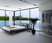 stock photo of master bedroom  - Ultramodern bedroom interior with grey bed against panorama windows with seascape view - JPG