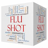 stock photo of flu shot  - Flu Shot 3D cube Word Cloud Concept with great terms such as rx needle prevention inject medicine and more - JPG