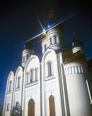 image of zakarpattia  - Orthodox church against the dark blue sky - JPG