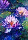 stock photo of lillies  - Oil painting of beautiful lotus flower - JPG