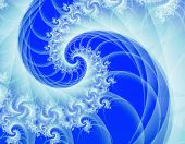 stock photo of mandelbrot  - A classic Mandelbrot spiral fractal in blue and white - JPG