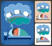 stock photo of counting sheep  - Cartoon illustration of man suffering from insomnia - JPG