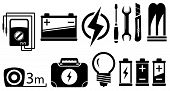 image of ohm  - set of black isolated electrical objects and tools - JPG