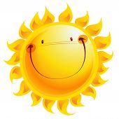 stock photo of cartoon character  - Shining yellow smiling sun cartoon character as weather sign temperature - JPG