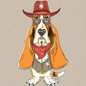 image of basset hound  - hipster dog Basset Hound breed clothing sheriff in a hat glasses and a waistcoat with a star - JPG