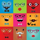 picture of freaky  - Set of funny hipster monster eyes and face expressions - JPG