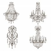picture of chandelier  - set of four chandelier drawings sketch style - JPG