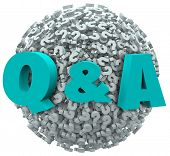 Q and A letters on a ball or sphere of question marks to illustrate asking for customer support, ser