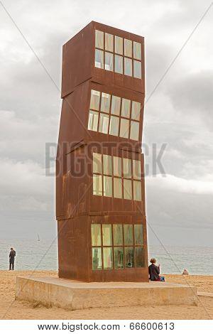 Horn Cube On A Beach In Barcelona, Spain