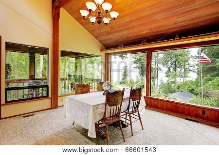 Dining Room In Log Cabin House
