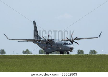BERLIN, GERMANY - MAY 21, 2014: Twin-Turboprop Transport Aircraft Airbus C-295, demonstration at International Aerospace Exhibition ILA Berlin Air Show-2014.