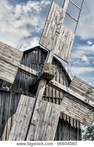 Old Wooden Traditional Ukrainian Windmill