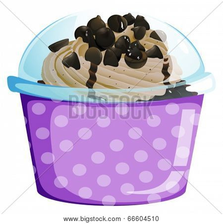Illustration of a lavender disposable cup with a cake inside on a white background