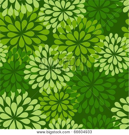 floral seamless pattern - green repetitive flower background