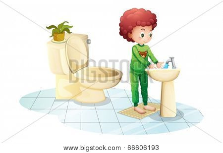 Illustration of a young man washing his hands on a white background