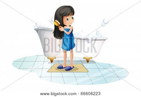 Illustration of a girl combing her long black hair on a white background