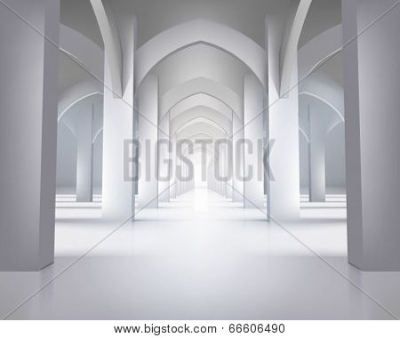 Long hallway. Vector illustration.