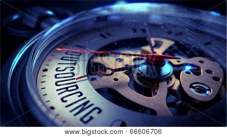 Outsourcing on Pocket Watch Face. Time Concept.