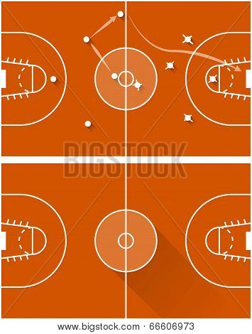 Vector illustration of strategy of a basketball game