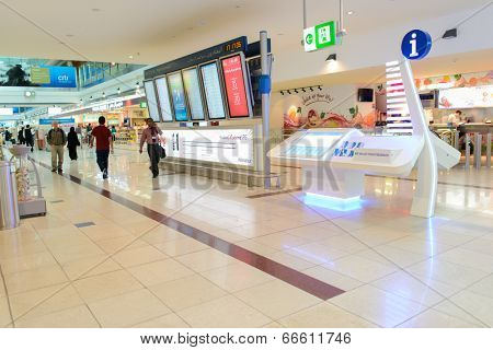 DUBAI, UAE - MARCH 31: flight schedule in airport on March 31, 2014 in Dubai. Dubai International Airport is a major airline hub in the Middle East, and is the main airport of Dubai.