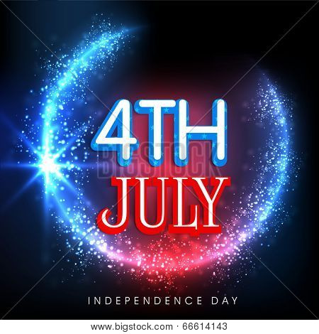 Shiny 4th of July text on blue and red background for American Independence Day celebrations.