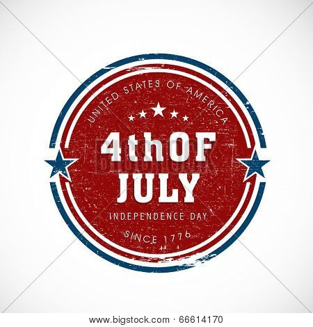Sticky, tag or label design in national flag colour for 4th of July, American Independence Day.