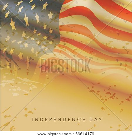 Vintage American flag waving on grungy brown background for Independence Day celebrations.