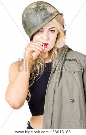 Tough And Determined Female Pin-up Soldier Smoking