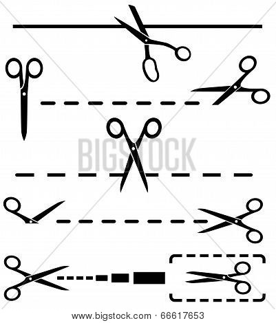 set black cut lines and many scissors silhouette