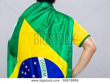 Backview of sportman wear with Brazil flag