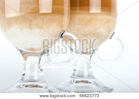 Two Big Glasses With Handles Of Latte Coffee, Macro Photo