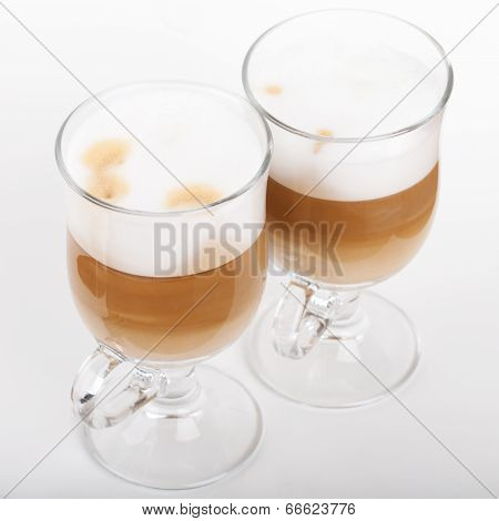 Two Glasses With Handles Of Latte Coffee