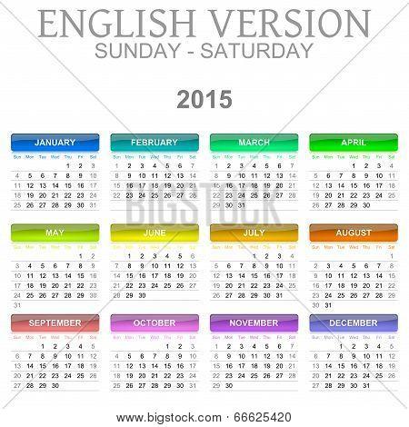 2015 Calendar English Language Version Sun – Sat