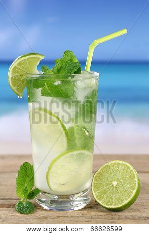 Mojito Or Caipirinha Cocktail On The Beach
