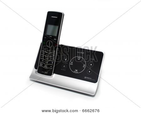 Isolated Black And Silver Cordless Phone