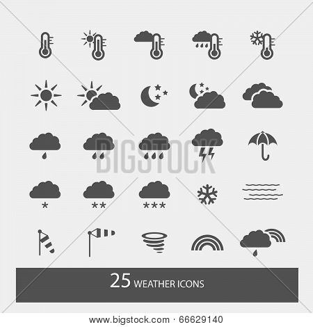 Set Of Simple Weather Icons With White Background