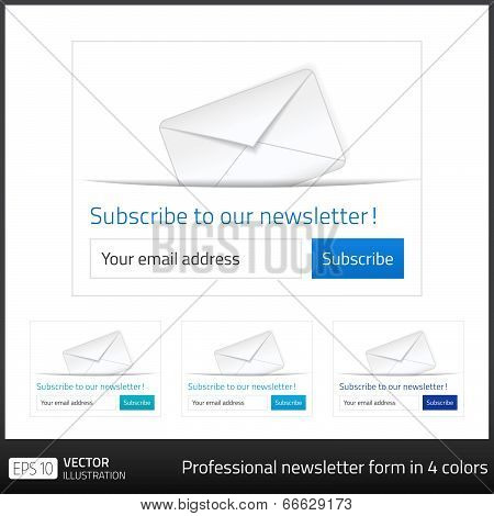 Light Subscribe To Newsletter Form With White Background And Button In 4 Cold Tones