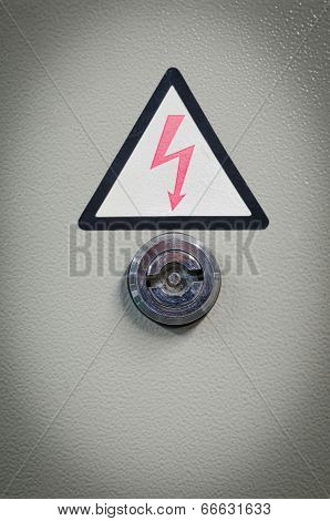 Old Aluminum Key Door Knob On The Door Of Electric Control Box