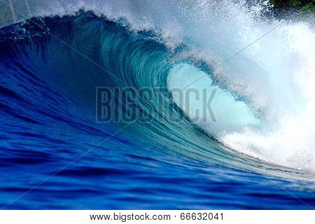 Blue surfing wave poster