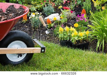Wheelbarrow Alongside A Newly Planted Flowerbed