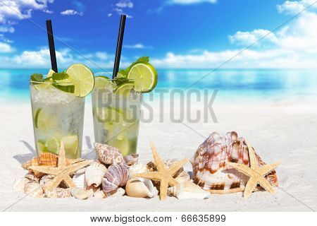 Fresh Mojito Cocktail On The Beach