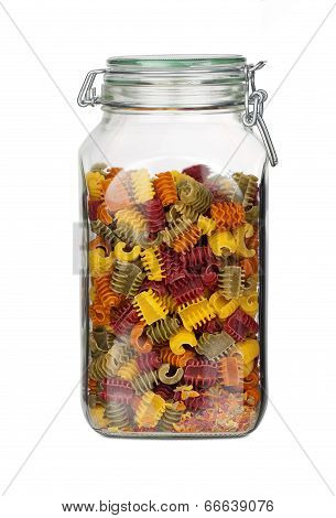 Storage Jar With Colorful Pasta Noodles